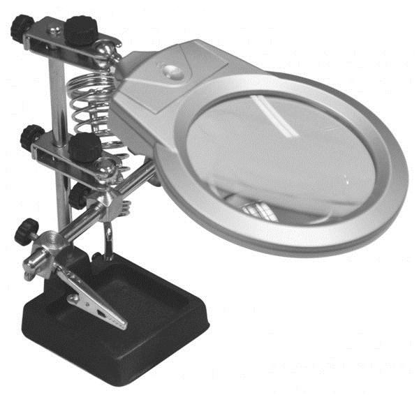 Лупа Kromatech настольная 2/6x, 90 мм, на шарнире с держателем и подсветкой (2 LED) MG16129-A/JM-508A