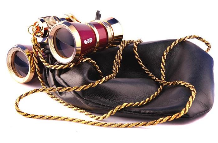 Бинокль театральный Veber Opera БГЦ 3x25, красно-золотистый, с цепочкой