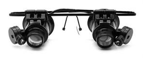 Лупа-очки Kromatech налобная бинокулярная 20x, с подсветкой (2 LED) MG9892A-II