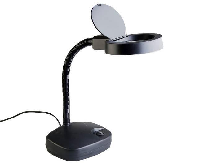 Лупа-лампа настольная Veber 3D/8D, 1,75х/3x, 86/21 мм, с подсветкой, черная (8611)