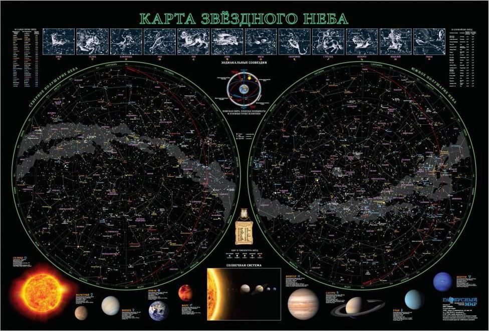 Карта звездного неба, 68x102 см (ламинированная)