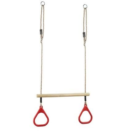 Кольца гимнастические Perfetto Sport с трапецией красный PS-310
