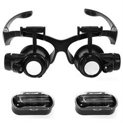 Лупа-очки Kromatech налобная 10/15/20/25x, с подсветкой (2 LED) MG9892G/GJ