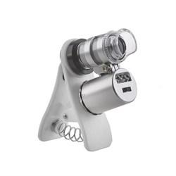 Микроскоп Kromatech 60x мини, с креплением для смартфона, подсветкой (2 LED) и ультрафиолетом (9882-W)