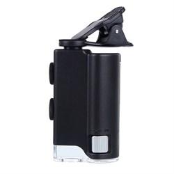 Микроскоп карманный Kromatech 60–100x мини, с креплением для смартфона, подсветкой (1 LED) и ультрафиолетом (7751W)