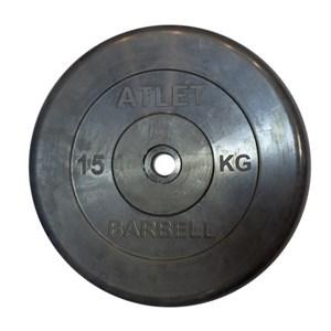 Диск обрезиненный, чёрного цвета, 26 мм, 15 кгAtlet