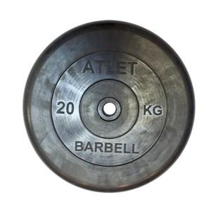 Диск обрезиненный, чёрного цвета, 26 мм, 20 кгAtlet