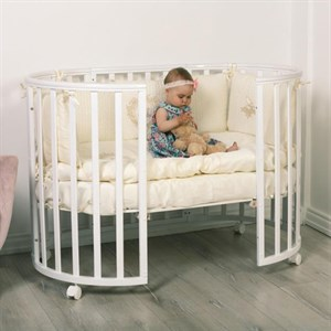 Кровать детская Incanto MIMI 7в1 круг-овал с накладкой ПВХ (белый)